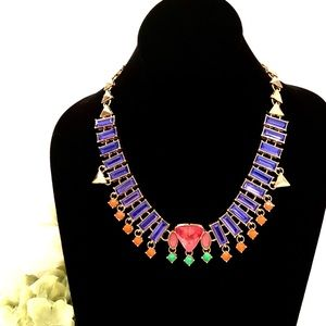 j. CREW multi colored glass statement necklace NWT